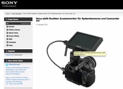 Sony Zusatzmonitor für DSLR