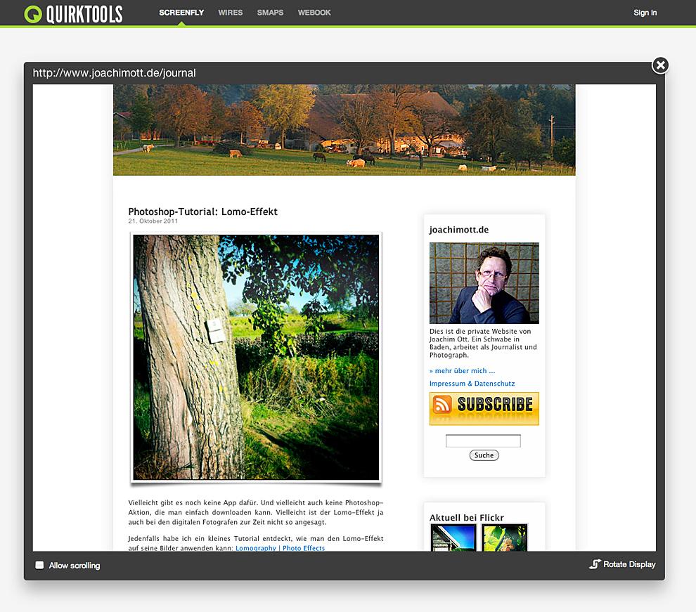 Screenfly mit QuirkTools — Website Sites für Tablets und ...