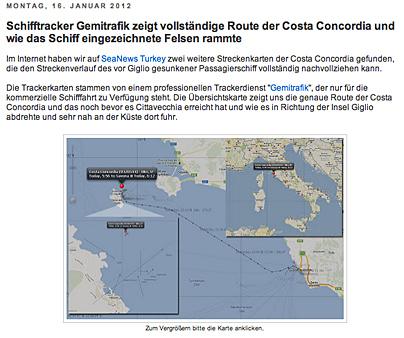 Die Route der Costa Concordia