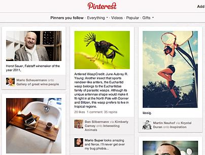 Screenshot der Pinterest-Seite