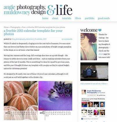 Kalendervorlage 2013 von Angie Muldowney