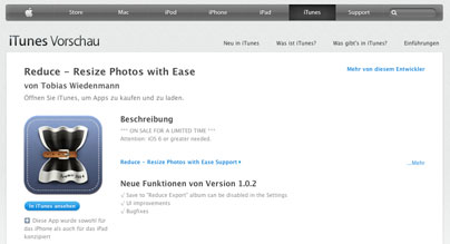 """""""Reduce – Resize Photos with Ease"""" für iPhone"""
