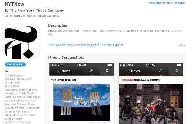 NYT Now: iPhone App mit handgewählten Inhalten