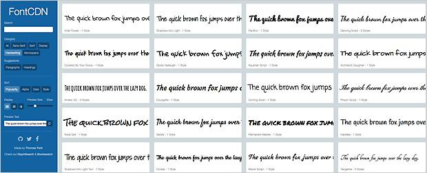 Google Web Fonts durchsuchen