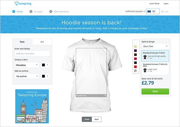 Online T-shirt Designer mit neuem Modell: Teespring für Kampagnen