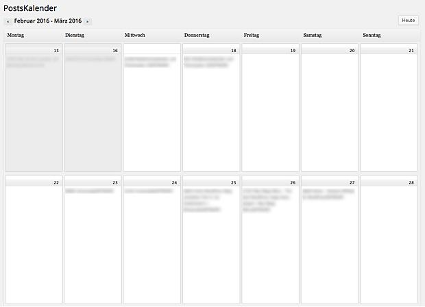 Redaktionskalender und Themenplan. Hier mit dem Plugin WordPress Editorial Calendar