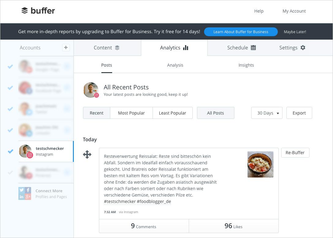 Dienste wie Buffer erleichtern die Planung und reduzieren den Arbeitsaufwand für die verschiedenen Social Media Kanäle ganz erheblich.