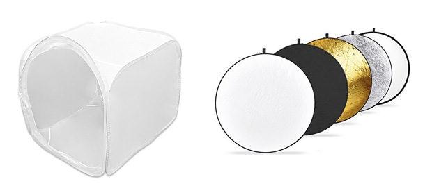 Ein Lichtzelt oder Reflektoren können das vorhandene Licht für Produktfotos wesentlich verbessern.