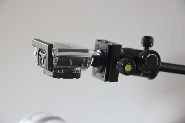 Die leichte GoPro am Ausleger.