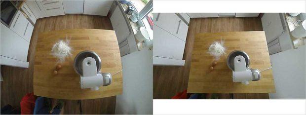 GoPro-Verzerrung vor und nach der Bearbeitung.