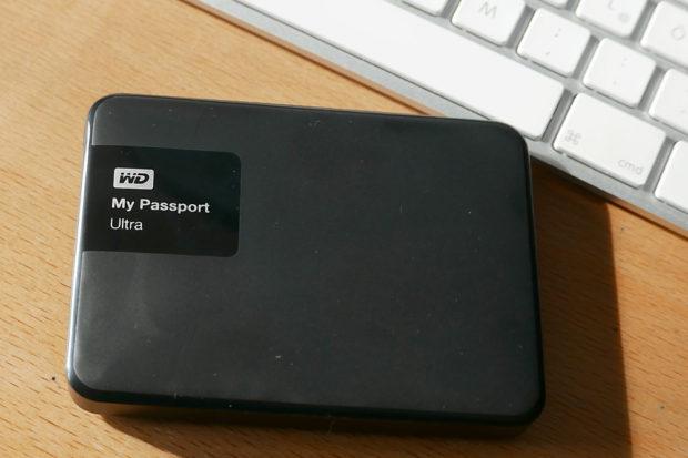 Kleine mobile Festplatte für die Außer-Haus-Sicherung.