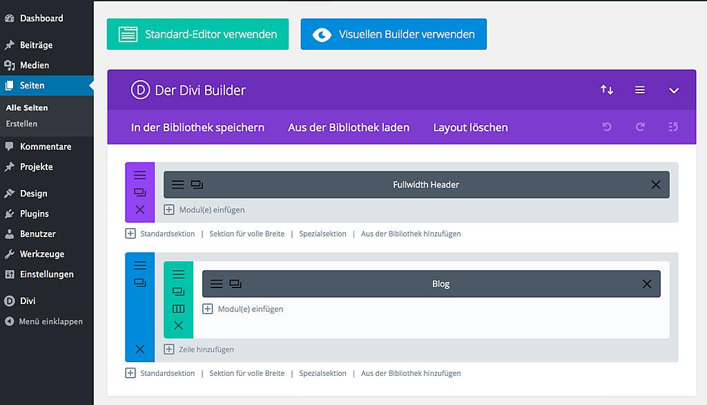 Divi mit Theme-Builder: Hier geht auch eine Echtzeit-Bearbeitungen des WordPress-Theme und Darstellung der Inhalte.