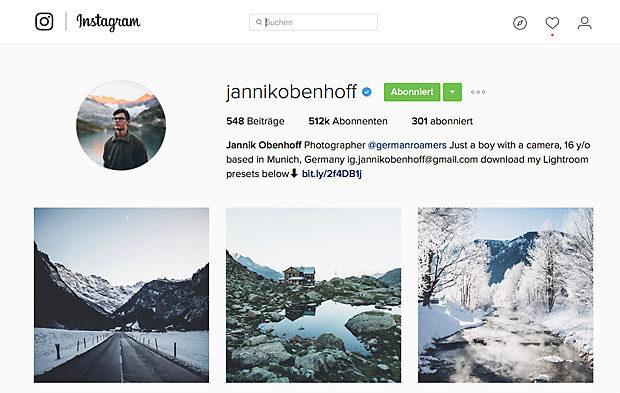 Vorbilder sind manchmal besser als Instagram-Tipps: Beispiel für ein knackscharfes Profil von Jannik Obenhoff.