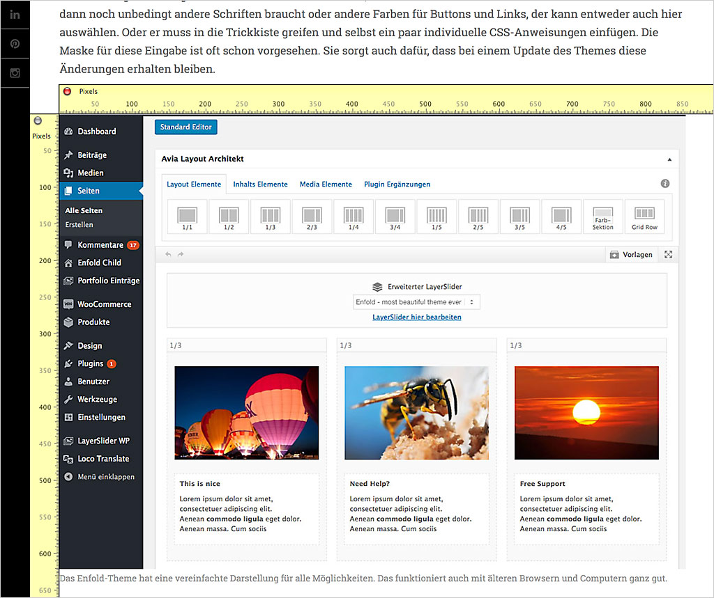 Wordpress Bildgröße 620 px in der Desktop-Variante - aber 850 Pixel in Tablet-Modus.
