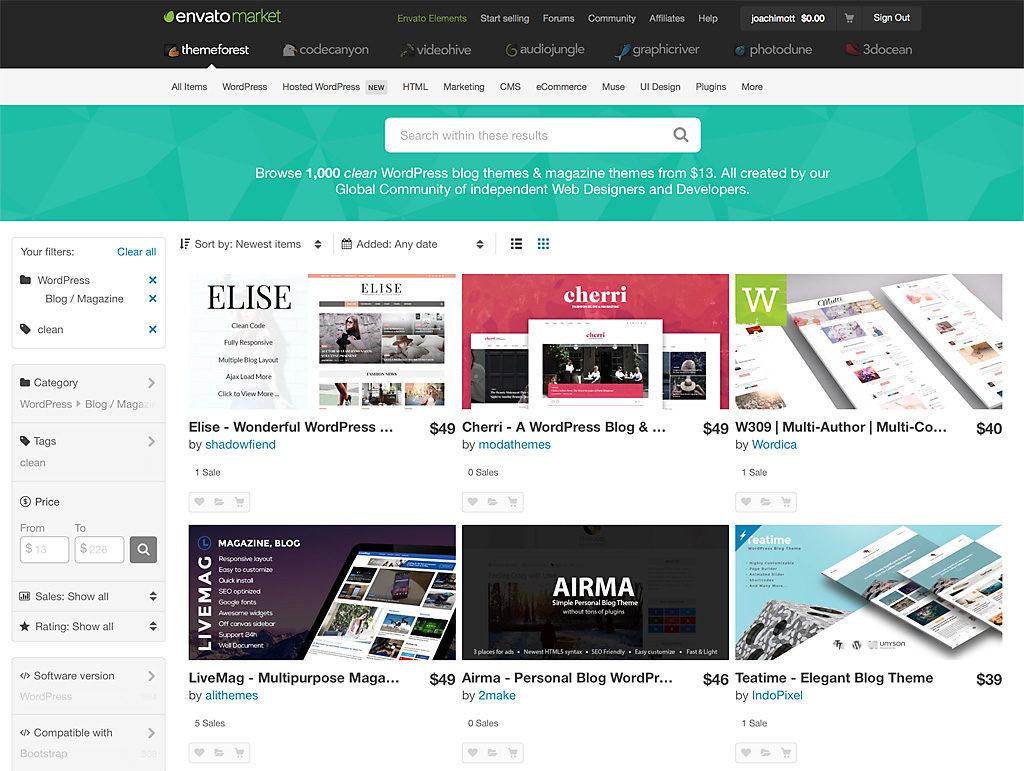 Blog-Investition WordPress-Theme: Sinnvolle Sache, preiswert, allerdings ist die Auswahl überwältigend. Wichtig ist eine Plattform, mit der man die Angebote filtern kann.