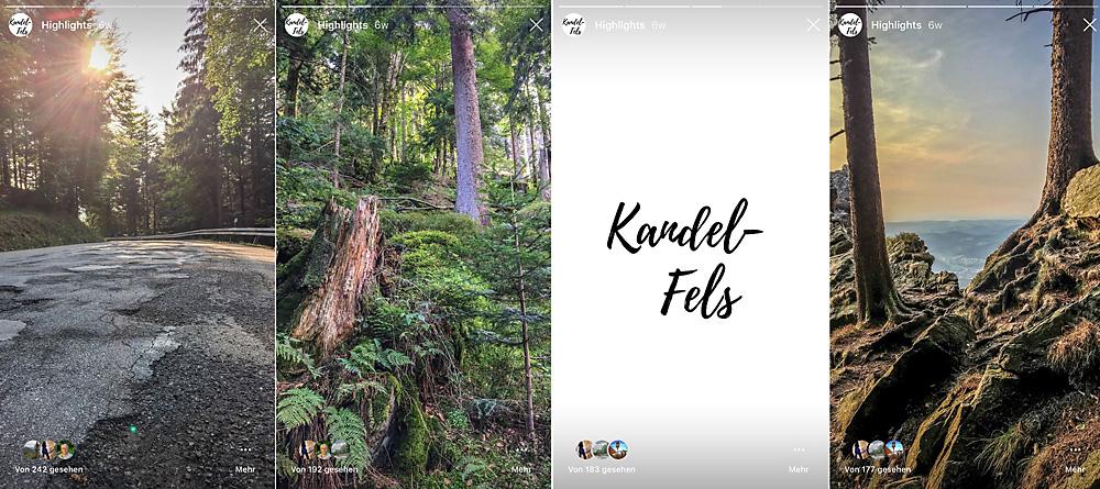 Vorschau-Stories aus vier Bildern erzählen auf Instagram tatsächlich eine kleine Geschichte.