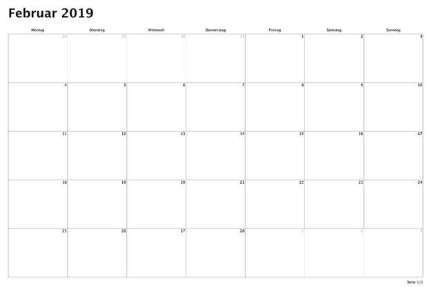 Blanko-Monatskalender zum Ausdrucken