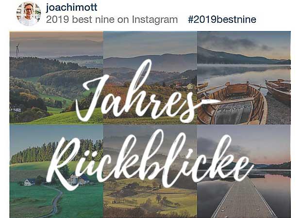 Einer der verbreitesten und beliebtesten Jahres-Rückblicke: Die erfolgreichsten eigenen neun Fotos auf Instagram.
