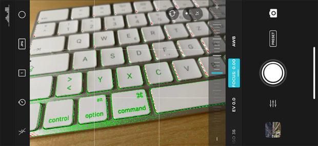 Mit der App von Moment (und anderen) kann man manuelle Bleichtungseinstellungen vornehmen. Hilfreich sind zum Beispiel minimale Entfernung, der ISO-Wert, aber auch Zebra für Spitzlichter und Fokus-Peaking.