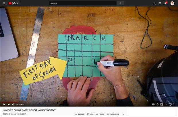 Erklären wie Casey Neistat: Mit Stift und Pappe senkrecht unter der Kamera.
