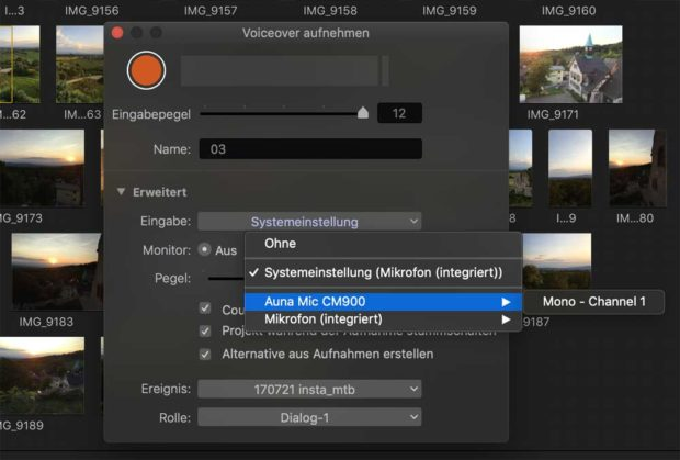 Das kompakte Fenster in FCPX erleichtert die Voice-Over Aufnahmen.