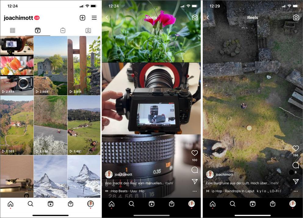Instagram Reels wie hier, aber auch TikTok-Filme und Youtube Shorts sind die derzeit beliebtesten Einsatzbereiche für Hochformat Videos.
