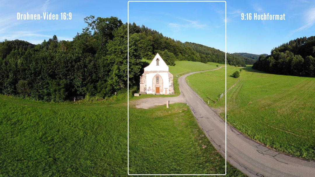 Bestens geeignet für die Hochformat-Ausschnitte sind Drohnen-Videos in 4K. Sie bieten interessante Perspektiven und Bewegung  im Bild.