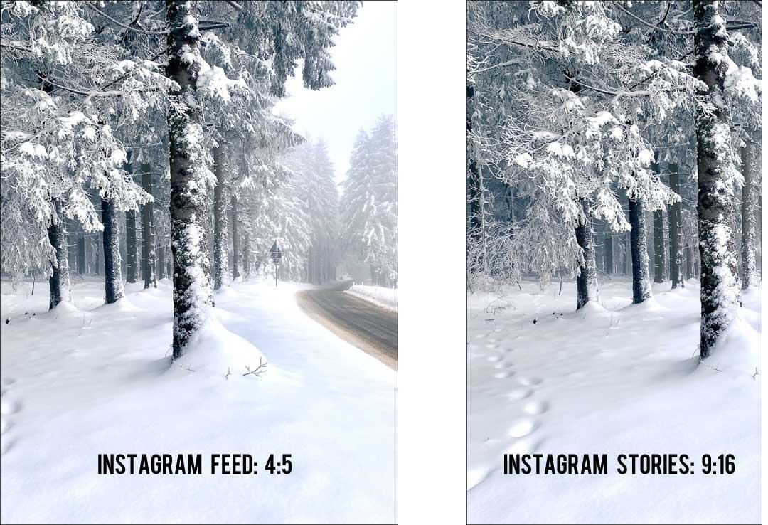 Das Resultat: zwei bearbeitete Fotos im passenden Format für den Instagram Feed und für die Stories.