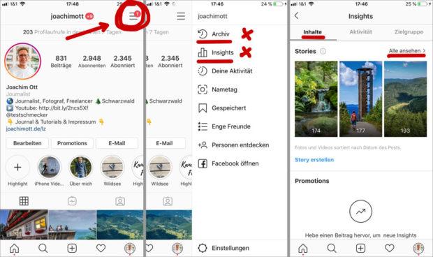 Drei Wege führen auf Instagram zu den Zahlen.