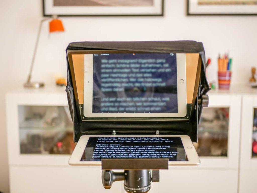 Teleprompter für iPads bieten mehr Platz und größeren Text als solche für Smartphones.