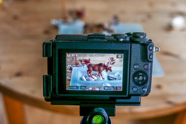 Das Fokus-Peaking (hier an der Canon EOS M6) für die Schrafeinstellung hilft auch bei schlechten Lichtverhältnissen.