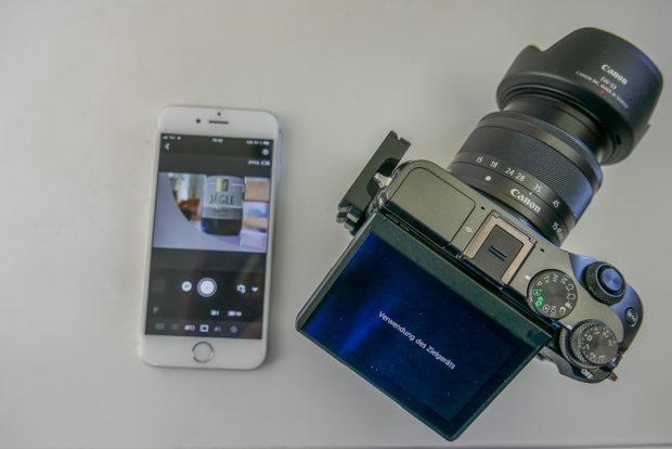 Die Canon App erlaubt Fokus- und Belichtungseinstellungen.
