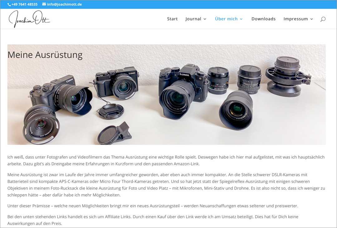 Zeig auf Deiner Website für Fotografen was Du hast: Die Ausrüstung muss nicht high-end sein, aber der Aufgabe angemessen.
