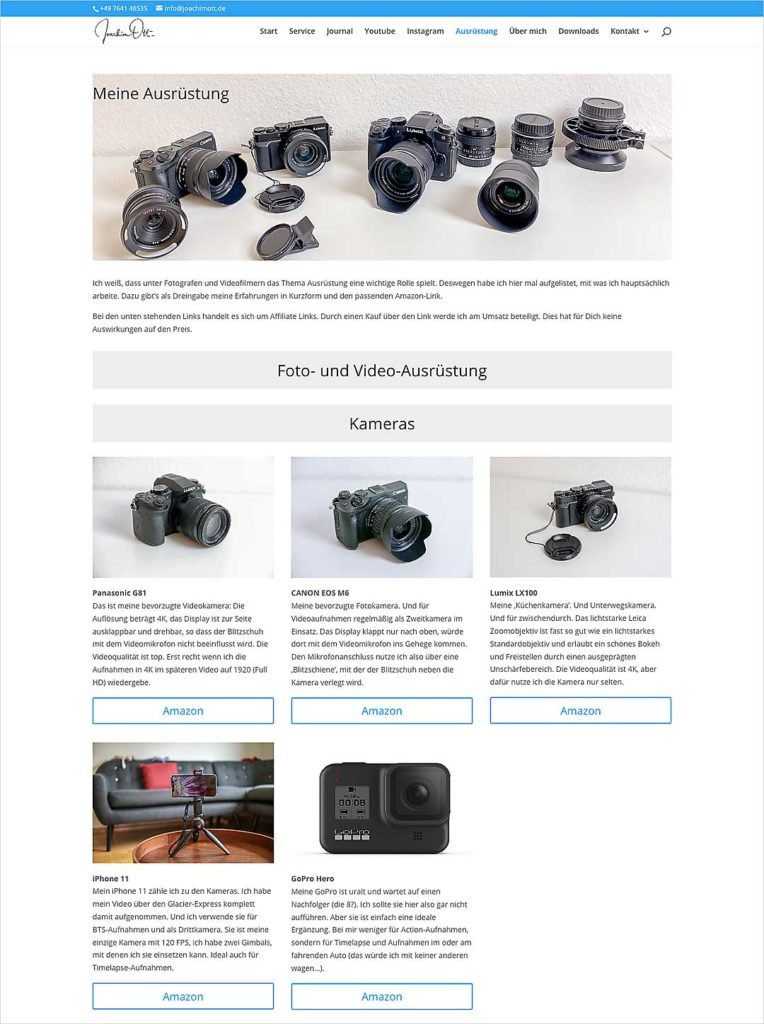 Auch seine Foto-Ausrüstung samt Affiliate-Links muss man nicht auf fremde Websites auslagern.