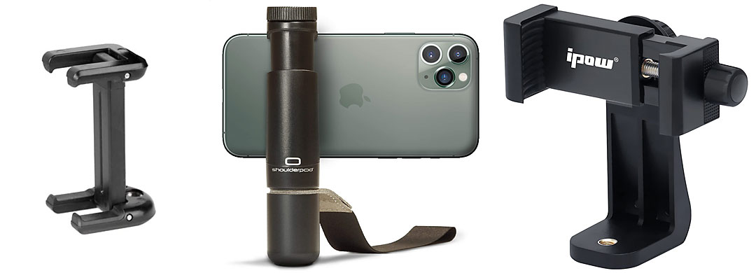 iPhone Stativ-Haleterungen, zum Beispiel für Timelapse Aufnahmen