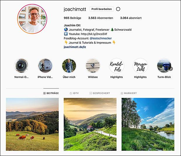 Der einzige Link, dem man auch in den Instagram-Texten verweisen kann, steht im Kopf der Profil-Seite.