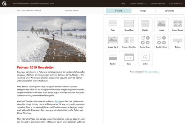 In einer Art Bauklastensystem kannst Du die Elemente Deines Newsletter zusammen fügen.