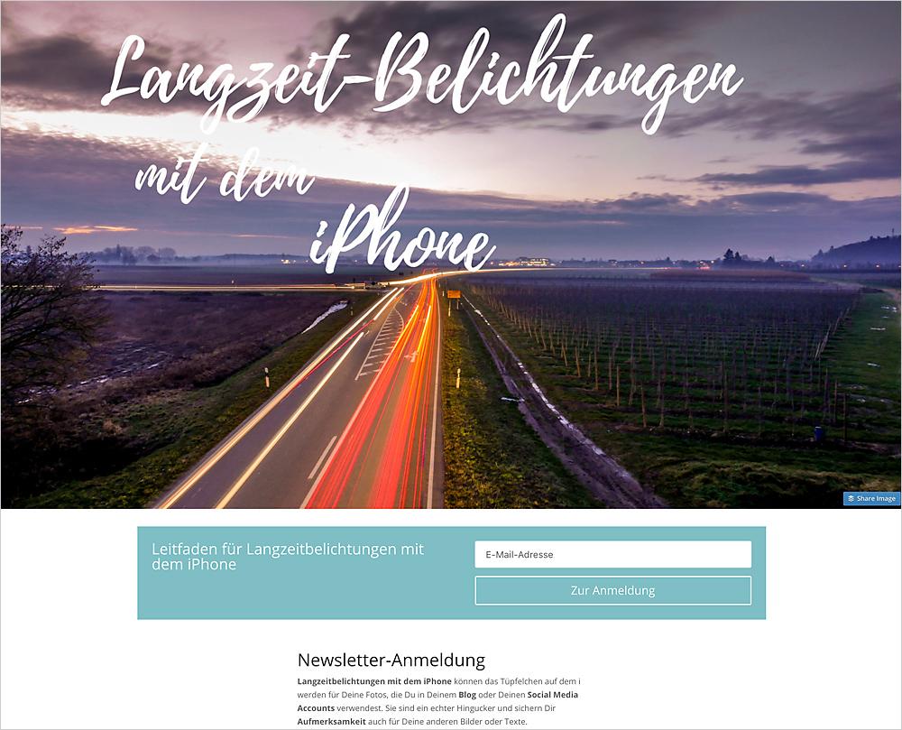 Newsletter-Start: Wenig Ablenkung, ein Ziel, mit einer perfekten Landingpage.