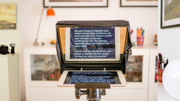 Größere Teleprompter für das iPad bieten die Möglichkeit für mehr Abstand.